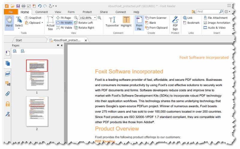 Foxit Reader - пример открытой страницы с текстом