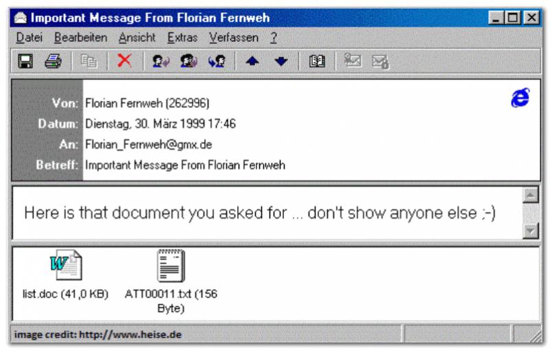 Melissa - прислала сообщение, с файлами, которые якобы просил пользователь у своего коллеги