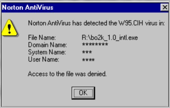 Norton Antivirus обнаружил вирус Чернобыль