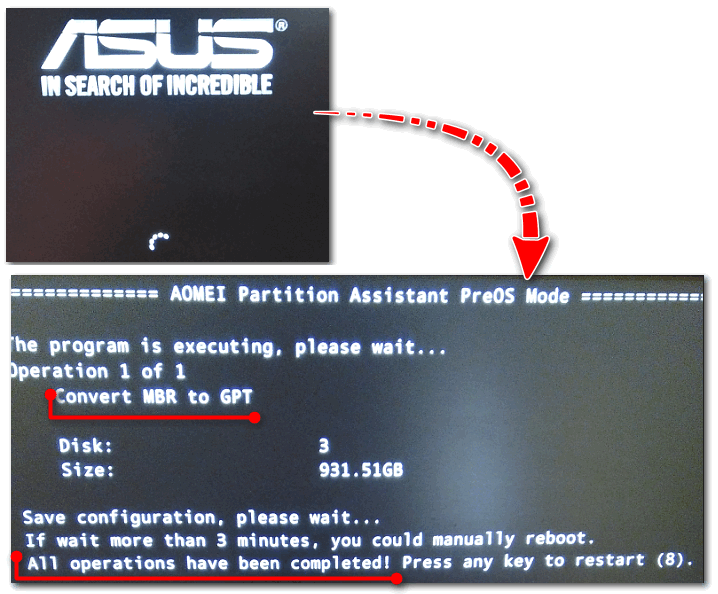 После перезагрузки ПК - мой диск за считанные секунды был преобразован в GPT