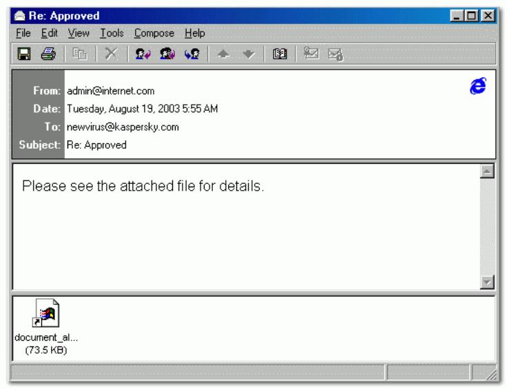 Пример письма, зараженного Sobig F
