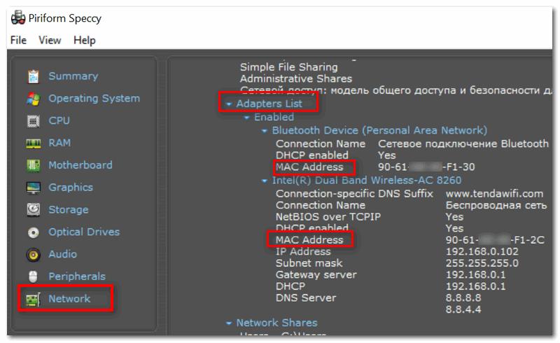 Speccy - информация о сети (вкладка Network)
