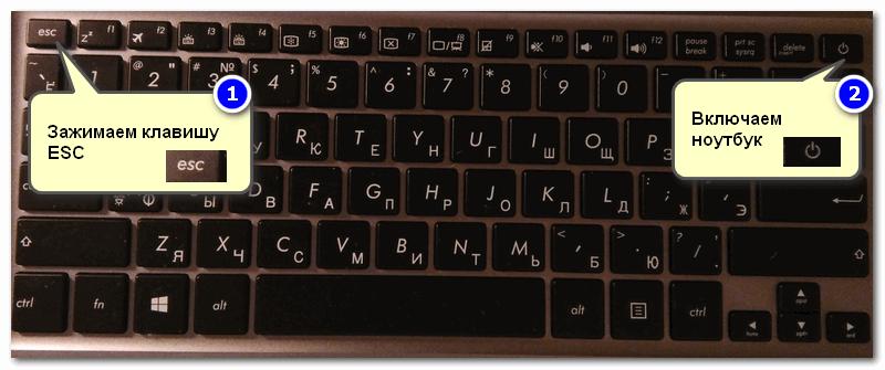 Способ 2 - зажимаем клавишу ESC и включаем ноутбук