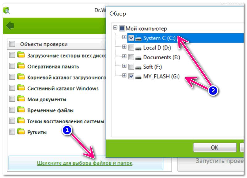 Выбор системного диска и флешки / Dr.Web CureIt