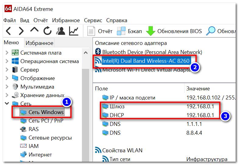 AIDA 64 - Вкладка сеть Windows