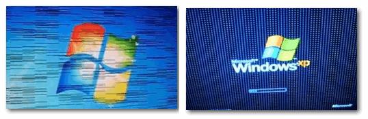Фото монитора с вертикальными полосами и рябью (в качестве примера)