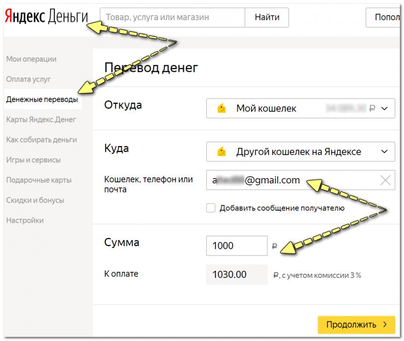Перевод средств в Яндекс-деньги