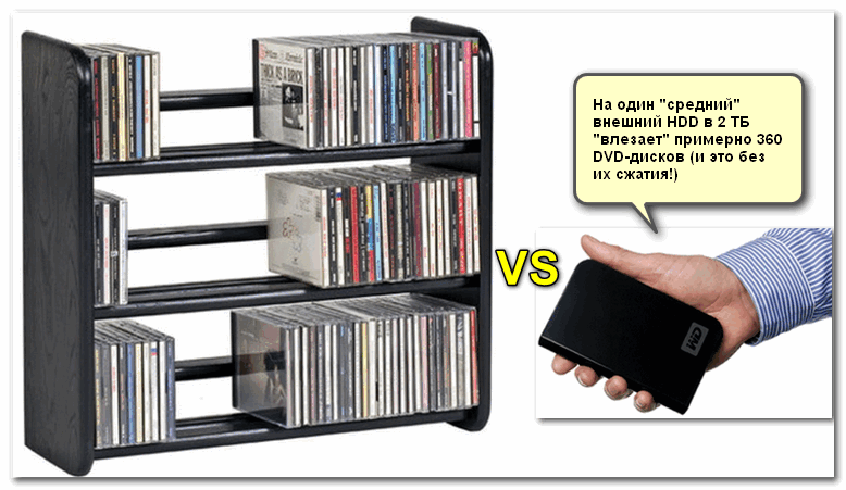 Полка с дисками против внешнего HDD