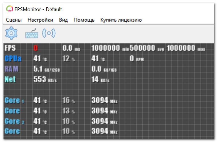 Главное окно FPS Monitor