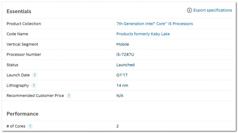 Спецификация ЦП от Intel (в качестве примера)
