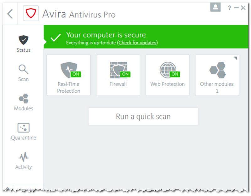 AVIRAntivirus Pro - главное окно антивируса