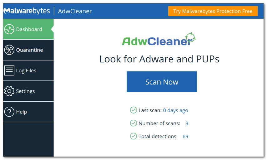 AdwCleaner - главное окно