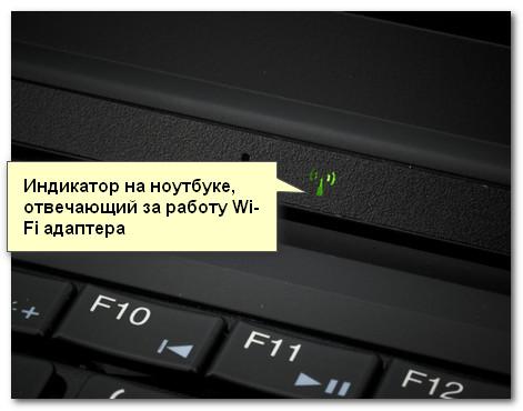 Индикатор работы Wi-Fi адаптера на ноутбуке