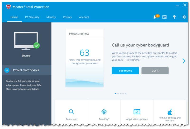 McAfee Total Protection - главное окно программы
