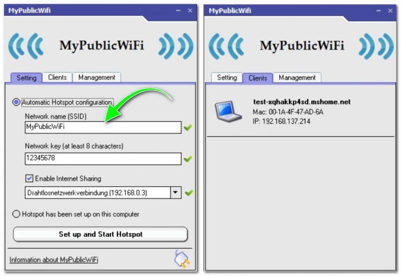 MyPublicWiFi - главное окно программы