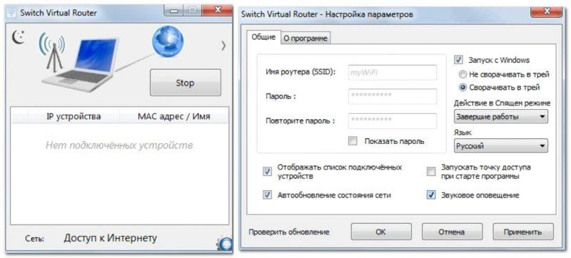 Switch Virtual Router - главное окно