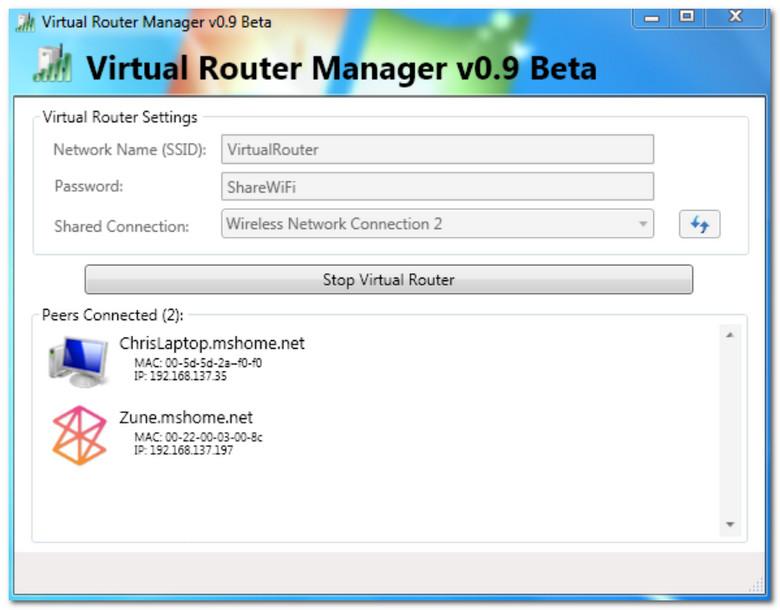 Virtual Router - в прогамме создана Wi-Fi сеть, к которой подключено 2 устройства