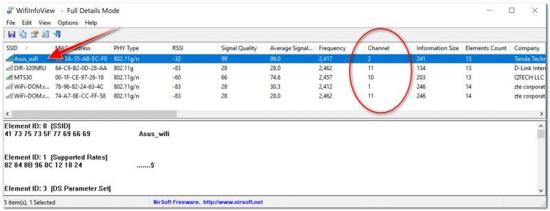 WiFiInfoView - главное окно программы (работает автоматически)
