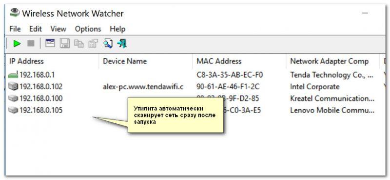 Wireless Network Watcher - главное окно после скандирования сети