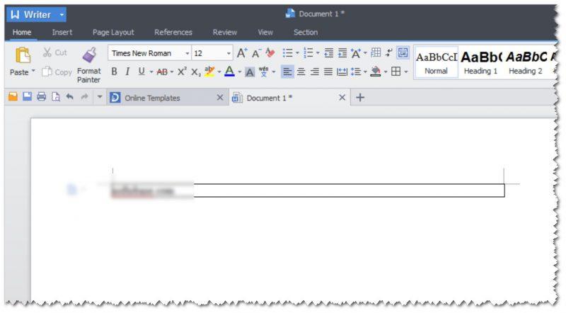 Writer - текстовый редактор в Kingsoft Office Suite