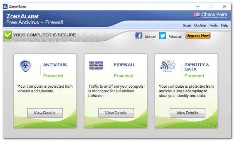 ZoneAlarm Free Antivirus - главное окно программы