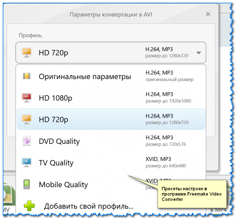 Параметры конвертирования Freemake Video Converter