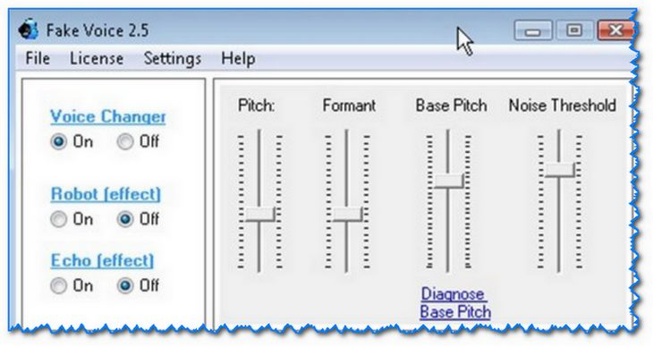 Fake Voice - скриншот параметров программы
