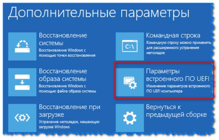 Параметры встроенного ПО (Windows 8)