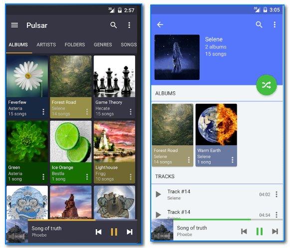 Pulsar Music Player - скрины работы приложения