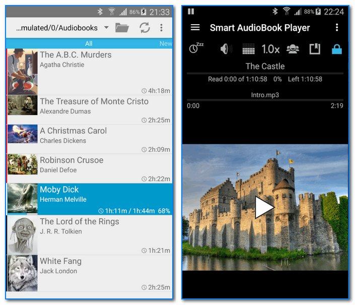 Smart AudioBook Player - скрины работы приложения (от разработчиков)