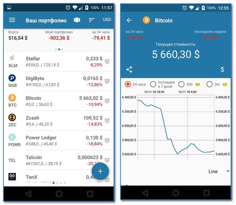 Coin Portfolio - скрины работы приложения