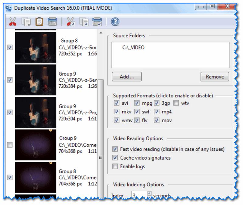 Duplicate Video Search - главное окно программы (настройки поиска)