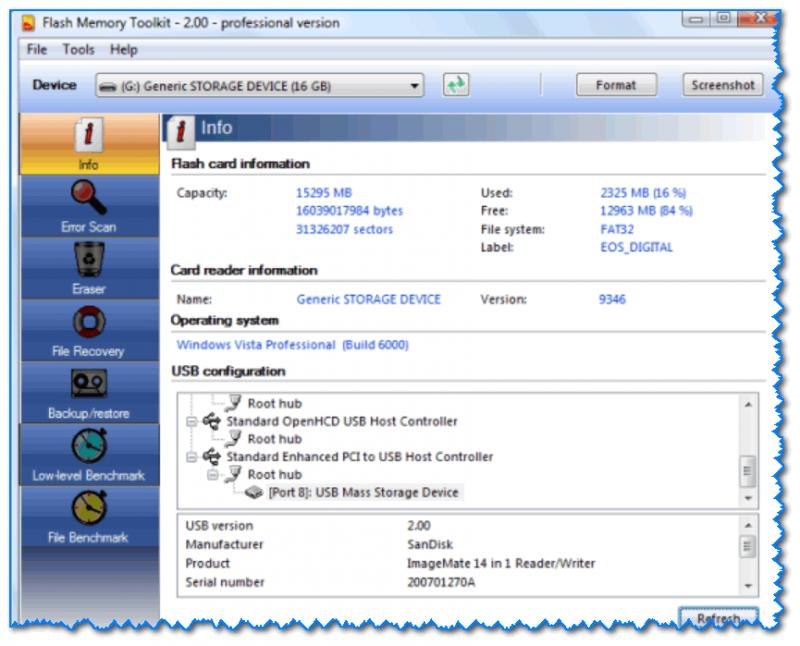 Главное окно утилиты Flash Memory Toolkit