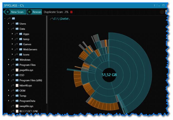 SPYGLASS - главное окно программы