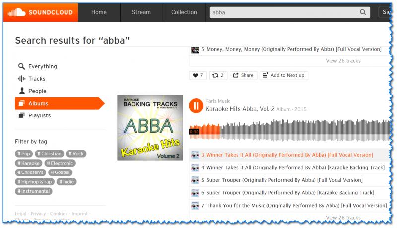 SoundCloud - скрин окна поиска