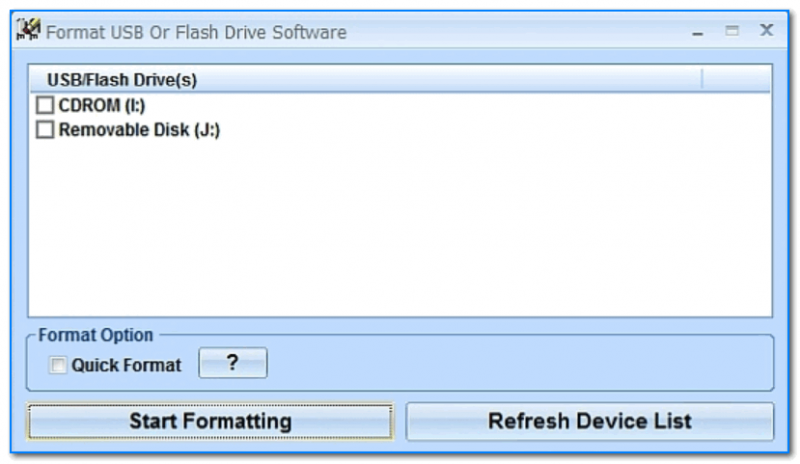 Скриншот главного окна утилиты Format USB Or Flash Drive Software
