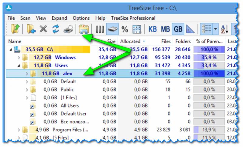 TreeSize Free - главное окно программы