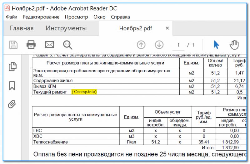 Полученный файл был открыть в Adobe Reader