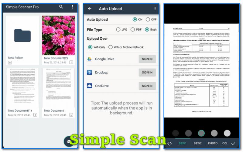 Simple Scan - скрины работы приложения (от разработчиков)