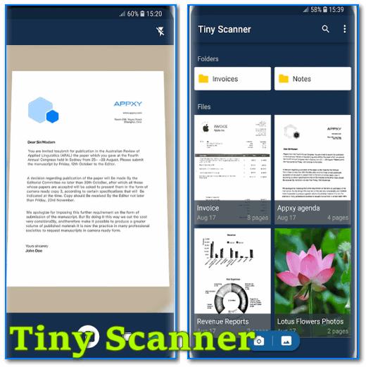 Tiny Scanner - скрины работы приложения (от разработчиков)