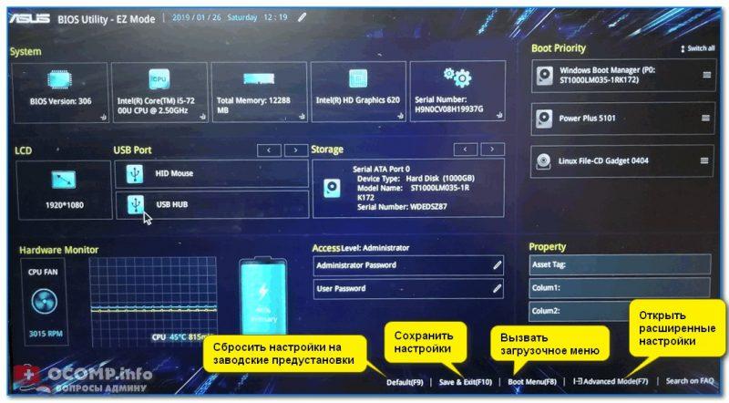 Asus UEFI (BIOS Utility - Ez Mode) - главное окно