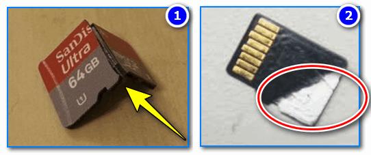 Сломанные MicroSD карты