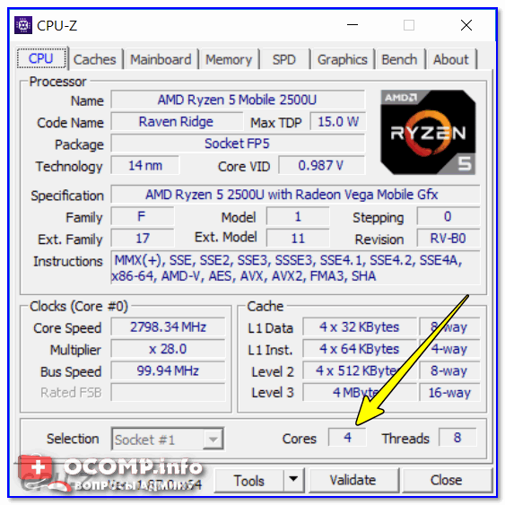 CPU-Z — 4 Cores (4 ядра, 8 потоков)