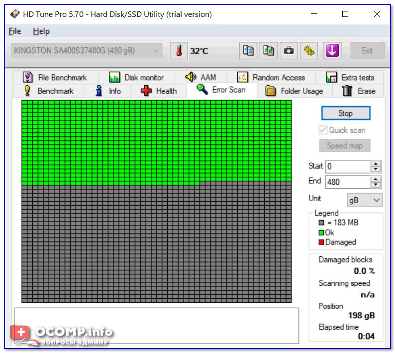 Проверка диска на ошибки (HD Tune)