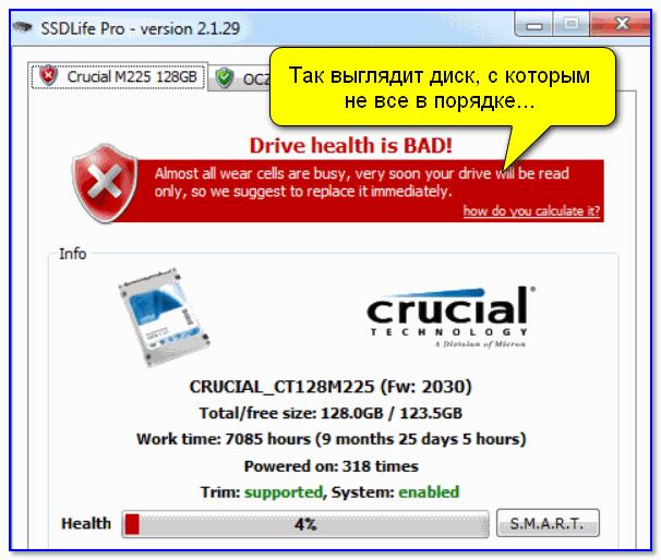 Так выглядит диск, с которым не все в порядке... (SSD Life)