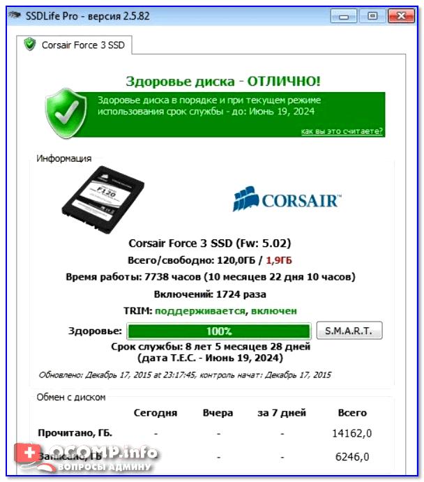 Здоровье диска - отличное! / SSD Life