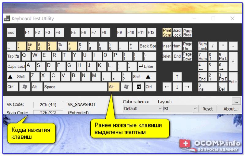 Keyboard Test Utility — главное окно утилиты