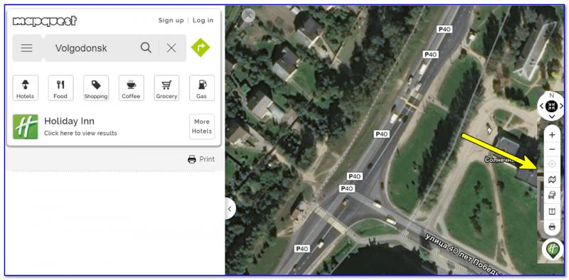 Панелька для настройки карт (например, переключение на вид со спутника)