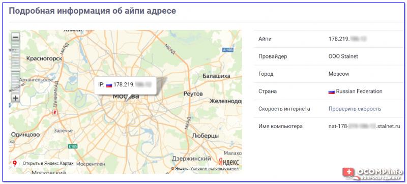 Подробная информация об айпи адресе