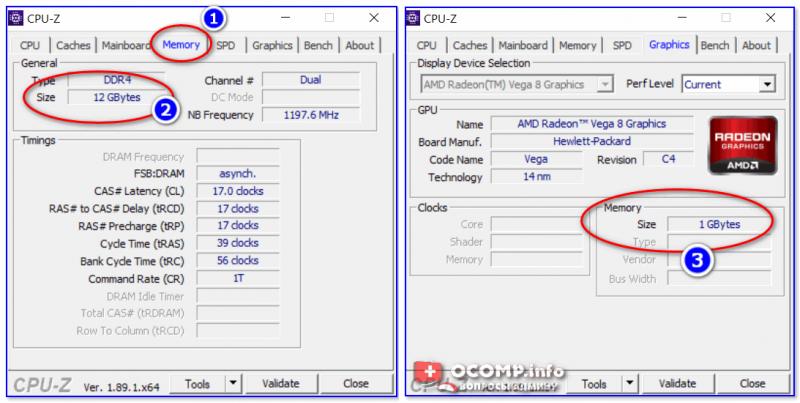 CPU-Z - оперативная память, видеокарта